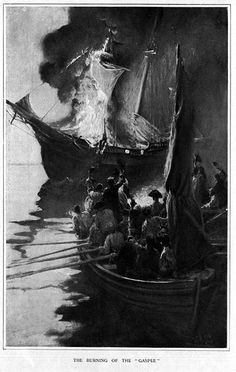 The Gaspée Affair was a significant event in the lead-up to the American Revolution. HMS Gaspée, a British customs schooner that had been enforcing unpopular trade regulations, ran aground in shallow water on June 9, 1772, near what is now known as Gaspee Point in the city of Warwick, Rhode Island, while chasing the packet boat Hannah.  A group of men led by Abraham Whipple and John Brown attacked, boarded, looted, and torched the ship.