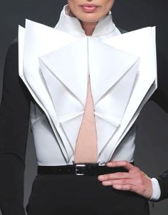 3D origami fashion details - blouse with folded fabric design like crisp white paper // Stephane Rolland