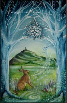 "Print Hare ""Gateway""  Glastonbury Tor. Moon Celtic by Eveningstardust on Etsy https://www.etsy.com/listing/114773011/print-hare-gateway-glastonbury-tor-moon"