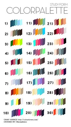 """If you think I categorized a palette in the wrong color/hue group, please leave a comment! I struggled with some of them.boardingtheark: """"Aaaaaand as promised- Here is the selection for version of the colour palette meme!This Pin was discovered byH Colour Pallette, Colour Schemes, Color Combinations, Color Patterns, Buch Design, Colour Board, Color Swatches, Color Theory, Drawing Tips"""