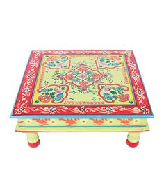 Take a look at this Lime & Coral Hand-Painted Bajot Low Table by Tadpoles on #zulily today!