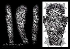 Tribal full sleeve design by shepush on DeviantArt - Tattoo Designs Men Tribal Tattoo Designs, Tattoo Sleeve Designs, Tribal Tattoos, Geometric Tattoos, Tatoos, 3 4 Sleeve Tattoo, Full Sleeves Design, Polynesian Tattoos Women, Deviantart Tattoo