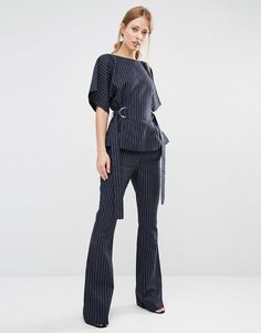 Pin for Later: You've Been Looking For Gigi Hadid's Summer Suit All Your Life  Finders Keepers Pinstripe Flares ($194) and Belted Top ($178)