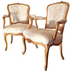 A Louis XV Period Pair of Armchairs in Beechwood, Stamped JP Letellier | From a unique collection of antique and modern armchairs at https://www.1stdibs.com/furniture/seating/armchairs/