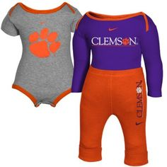 Clemson Tigers Nike Infant Baby Short and Long Sleeve One...