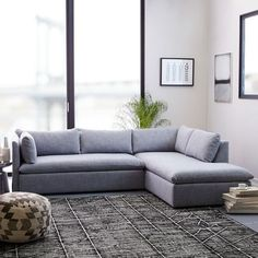 Shelter 2-Piece Terminal Chaise Sectional - Shelter Blue (Yarn Dyed Linen Weave) | west elm