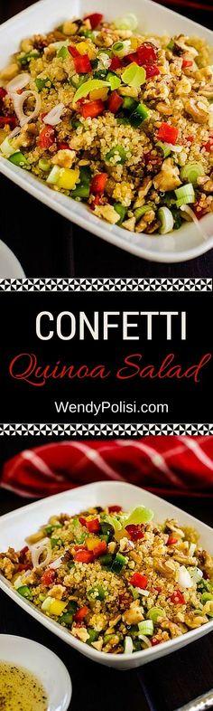 Confetti Quinoa Salad - This easy vegan recipe makes the perfect lunch or dinner! One of my favorite simple quinoa recipes.