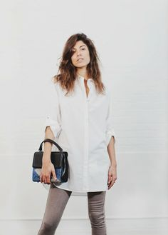 SS14 Spring Lookbook:MIH T-shirt dress and skinny jean with the Isly handbag.