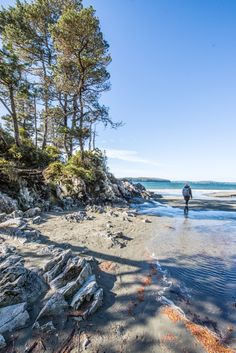 Walking along Tonquin Beach in Tofino British Columbia