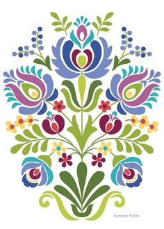 computer Folk Embroidery Patterns Hungarian Folk Art Blue and Purple Flowers - Hungarian Folk Art Print This is an image created in Adobe Illustrator and inspired by the beautiful folk desig Hungarian Embroidery, Folk Embroidery, Learn Embroidery, Embroidery Patterns, Hungarian Tattoo, Embroidery Tattoo, Folk Art Flowers, Flower Art, Drawing Flowers
