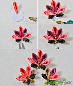 Pandahall Tutorial on How to Make Japanese Flower Hair Comb with Satin Ribbons - Pandahall.com