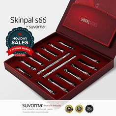Suvorna Skinpal s66 Blackhead  Whitehead Remover Cleaner  Comedone Extractor Skin Care 14 Pcs Kit With 2 Detachable Rod Made with Surgical Steel Professional and Home User Kit -- Continue to the product at the image link.