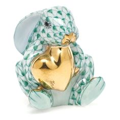 """Herend Hand Painted Porcelain Figurine """"Bunny w Heart"""" Green Fishnet Gold Accents."""