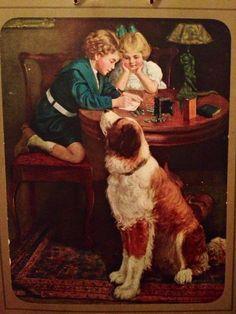 Carl Hirschberg, vintage saint bernard calendar print