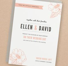INSTANT DOWNLOAD - Peony - DIY Printable Wedding Invitation Suite. $25.00, via Etsy. (Love the simple styling)