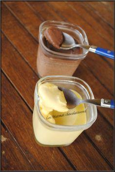 Une recette de Chocoaddict. Ingrédients: pour 6 pots au chocolat blanc: - 250ml de lait - 90g de chocolat blanc - 1 briquette de crème liquide - 2 œufs - 70g de sucre pour 6 pots au chocolat noir:...