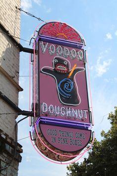 Get a famous Voodoo Doughnut in the heart of Portland Oregon. Voodoo Doughnut, Southwest 3rd Avenue, Portland, OR