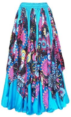 Saia Ninfa Azul e Estampado Bohemian Skirt, Boho, Worship Dance, Types Of Skirts, Satin Skirt, Gypsy Style, Belly Dance, Looks Great, Fashion Outfits