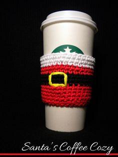 Santa's Coffee Cozy Pattern...@jayne evangelista evangelista evangelista Snider I NEED THIS!!!!!!!!!!!!!!!!