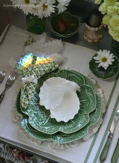 A rainbow and Irish Blessing table for St. Patrick's Day | Home is Where the Boat Is...May songbirds serenade you every step along the way. Irish Blessing tablescape
