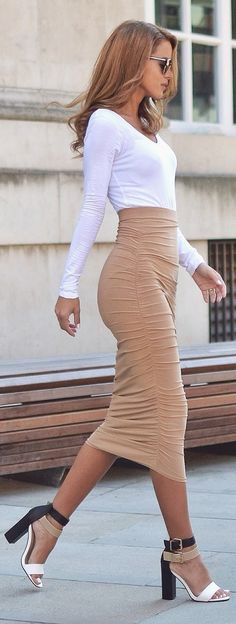 Street Style, white long sleeved bodysuit, a camel midi skirt, colour block heels and sunglasses