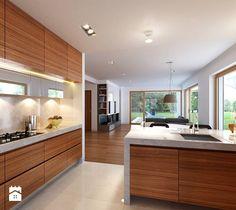 WYGODNY 1 - niewielki dom z poddaszem użytkowym - Średnia otwarta kuchnia w kształcie litery g, styl minimalistyczny - zdjęcie od DOMY Z WIZJĄ - nowoczesne projekty domów
