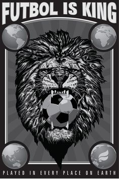 Futbol is King (version 1): Poster Concept by Pedro Cuencas. & John Irwin. Tags: Soccer, Soccer Design, Soccer Art, Futbol.