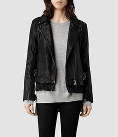 Women's Axel Leather Biker Jacket (Black) -
