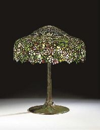 "Tiffany Studios - ""Apple Blossom"" Table Lamp c1910. Leaded glass, bronze"