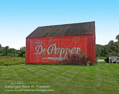 Dr Pepper Barn Photo - Rustic Fine Art Wall Decor - Advertisement - Red Green - Old Barn Photo - Americana - Farmhouse - Country Home Decor