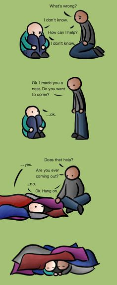 Accurate depiction of what depression often feels like, & what a friend can do to help.