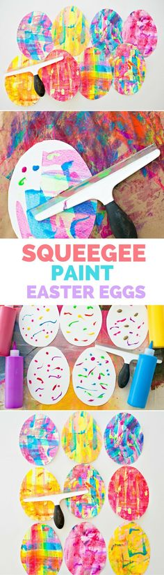 Squeegee Paint Easter Egg Art. Colorful paper eggs kids can make with beautiful marbling process art method.