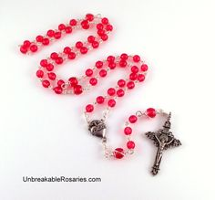 Sacred Heart Rosary Beads In Cranberry Red Czech Glass Come Visit UnbreakableRosaries.com!
