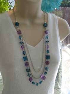 Purple and Blue Long Beaded Necklace by RalstonOriginals on Etsy