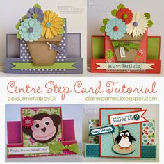 Centre Step card pdf instructions-tutorial using Stampin Up Supplies by Di Barnes #colourmehappy