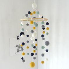 Nursery mobile/minth yellow mustard grey white/baby mobile/crib mobile/felt mobile/scandinavian/modern nursery/pompom mobile/baby decoration - Olivia S.