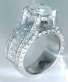Breathtaking 3.68 carat Round Brilliant Diamond Engagement Bridge Ring