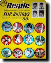 beatles   display card | ... cardboard display complete with 12 beatles flip pins display measures