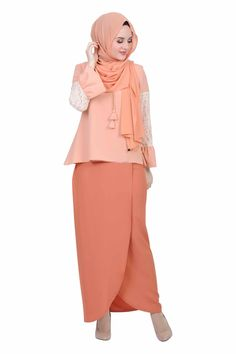 Lasting Expression Baju Kurung Moden - Peach