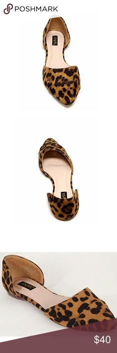 Anna Leopard Print Pointed Toe D'Orsay Suede Flats Anna Animal Print Flat Pointed Toe Flats in Leopard Print  Pointed toe Low heel Cushioned insole Faux suede Man made upper Man made sole  Fits true to size New in box Shoes Flats & Loafers