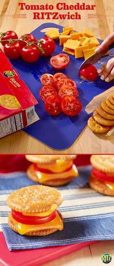 You can't go wrong with a classic grilled cheese sandwich! Our tomato cheddar RITZ cracker grilled cheese bites use bacon-flavored RITZ to add a smokey flavor. Just top with KRAFT Sharp Cheddar Cheese and pop in the oven until melted. Add a slice of plum tomato and top with another cracker. They're the ultimate afternoon snack on a summer day.