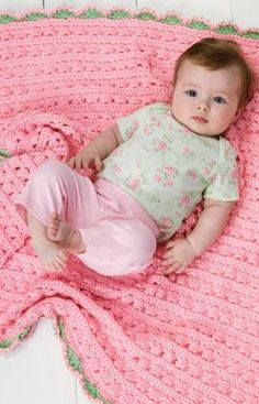 """Cuddle & Coo Blanket- Designed By: Terry Day Skill Level: Easy   Size:  Blanket = 34½"""" x 34½"""" Supplies: RH """"Soft Baby Steps"""": 4 balls Baby Pink A, 1 ball Baby Green B.Hooks: H/8/5mm + I/9/5.5mm."""