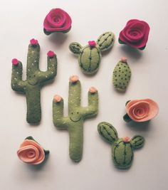 Five Piece Cactus Magnet Set by LunaBeehive on Etsy