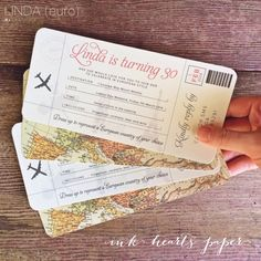 boarding pass plane ticket style vintage rustic map birthday / european europe wedding invitations Ink Hearts Paper