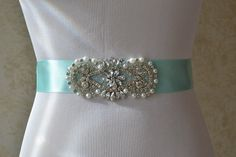 Wedding Dress Resale, New Wedding Dresses, Wedding Belts, Blue Satin, Aqua Blue, Sash, Pearls, Bridal, Trending Outfits