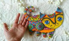 Polymer Clay Cat, Clay Cats, Fish Wall Art, Talavera Pottery, House Ornaments, Cat Wall, Mexican Folk Art, Cat Lover Gifts, Wall Sculptures