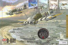 War First Day Covers | WORLD-WAR-2-D-DAY-OVERLORD-FIRST-DAY-COIN-COVER-60-YEARS-5-COIN-STAMPS Ww2 Planes, First Day Covers, 60th Anniversary, D Day, Stamp Collecting, Postage Stamps, World War, Envelopes