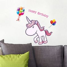 Decorativer Animal Horse Living Room Wall Sticker Animal Wall Decals, Wall Sticker, Happy Birthday, Horses, Stickers, Living Room, Animals, Art, Happy Brithday