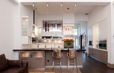 Use of light, glass, wine cabinets, storage