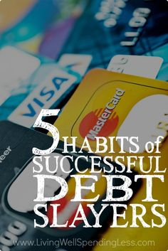 Ever feel like you are drowning in in a sea of unpaid bills? Taking on that debt dragon can be incredibly scary but these 5 simple habits of successful debt slayers can help you kill that debt once and for all! debt free debt freedom #debt #debtfree #savemoney family finances, family budget